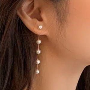 NEW! Long faux pearl dangle drop earrings